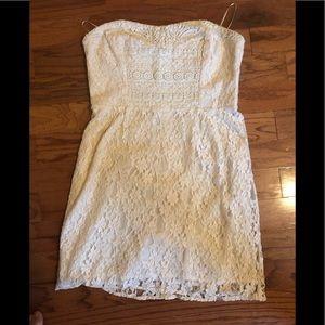 Free people ivory sz 12 strapless mini dress NWT